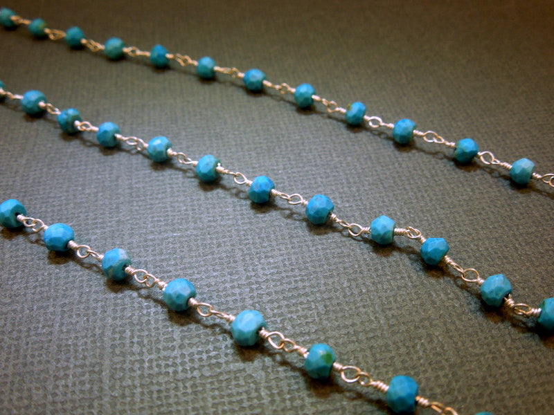Turquoise on Sterling Silver or Plated Wire Wrapped chain - Delicate Turquoise prayer chain