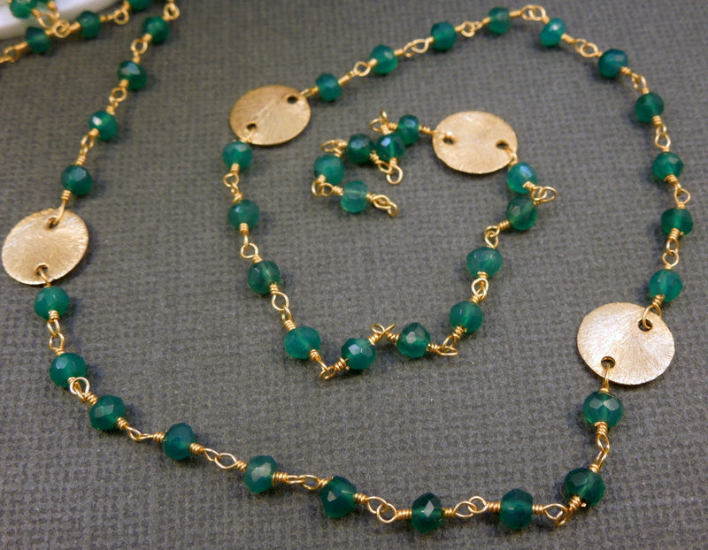 Green Onyx Wire Wrapped Gold Plated Chain - Rosary Style Beaded Chain -Gold Disks