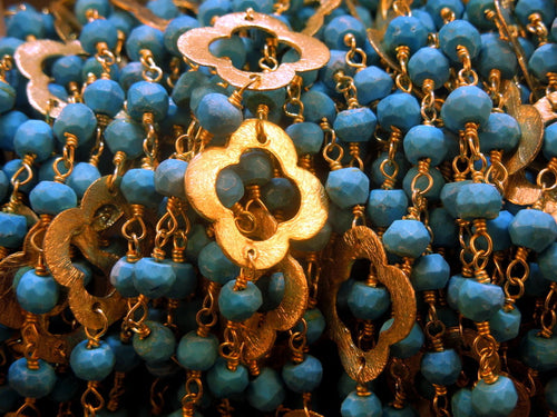Wholesale Chain Turquoise Beads Gold Plated Clover Chain-Gold Wire Wrapped Bead Chain - Amazing Rosary Style Chain
