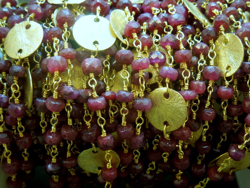 Ruby Wire Wrapped Beaded Chain with Gold Plated Disks- Gold Rosary Style Chain