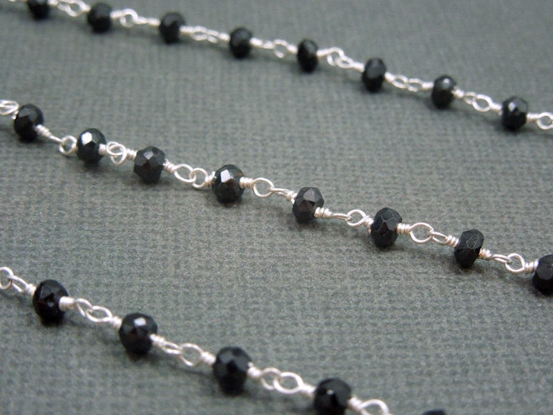 Black Spinel Rosary Style Beaded Chain - Black Spinel Beads wire wrapped