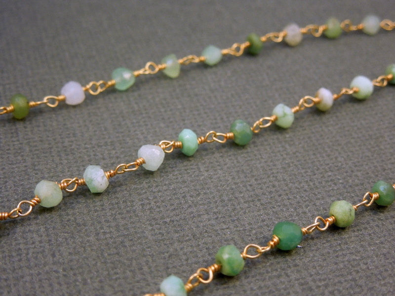 Chrysoprase Wire Wrapped Beaded Chain - Gold over Sterling Rosary Style Chain