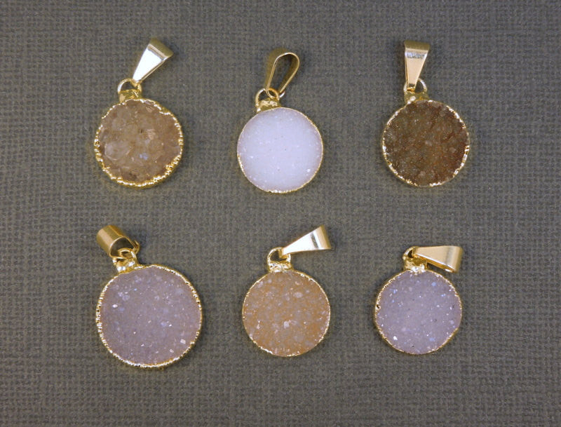 Druzy Crystal Gemstone edged in 24k gold- Drussy Druzzy Drusy Round Pendant High Quality Druzy Stone (S20B25-03)