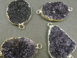 15% off  SALE Dark Druzy Druzzy Drusy Pendant edged in 24k gold - Double Bail Connector pendant (S1b11-02)