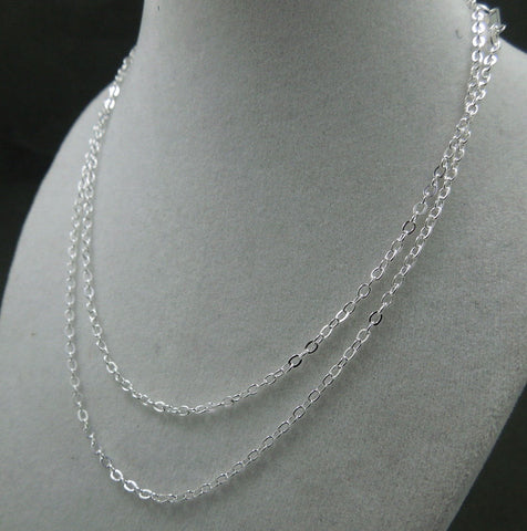 "Chain Finished Necklace Silver Plated Flat Cable Chain Lobster Clasp 1.3mm 18""-19"""