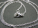 Chain Finished Necklace Silver Plated Flat Cable Chain Lobster Clasp 1.3mm 18