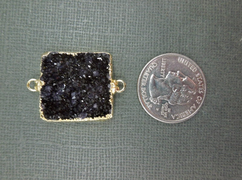 Druzy Square Pendant edged in 24k gold - Double Bail Square Connector Pendant (S1B6-03)