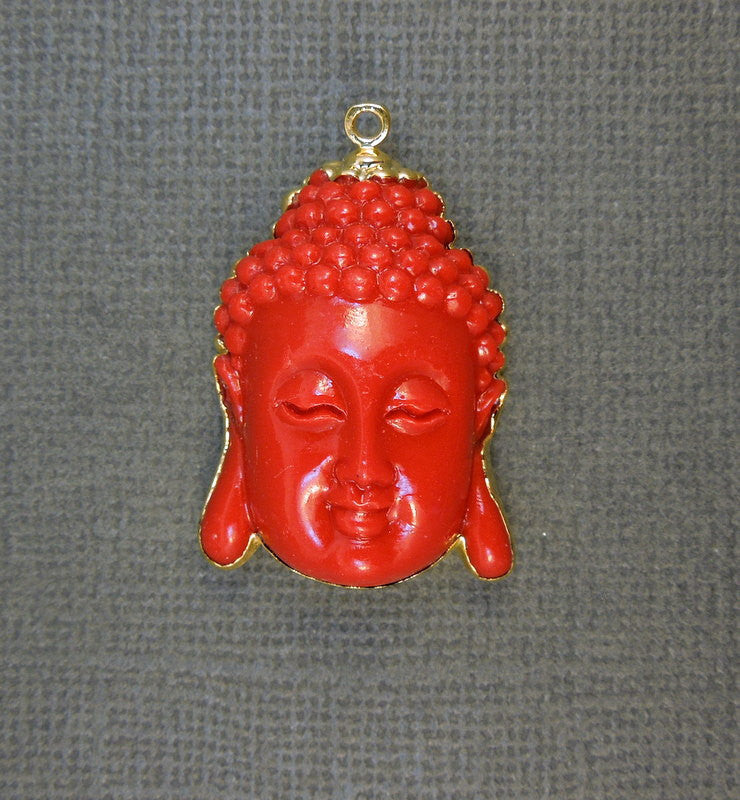 Red Buddha Edged in 24k gold pendant (S1B5-01)