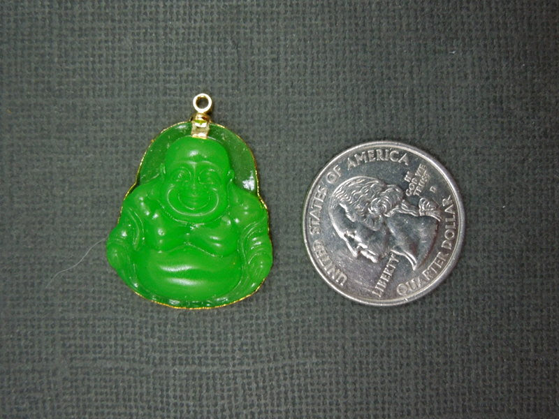 Green Carved Buddah Pendant edged in 24k gold EXCLUSIVE DESIGN (S1B5-09)