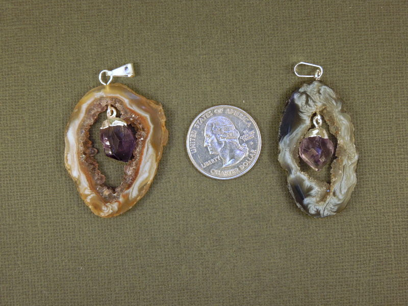 Agate Druzy Slice with Amethyst Point Pendant - Agate Slice and Amethyst Crystal Point