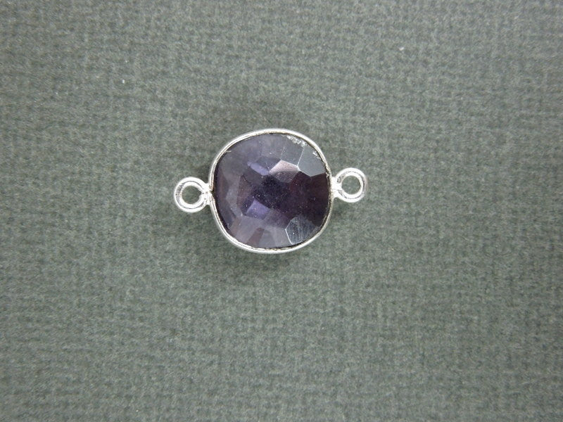 Amethyst Station Square Connector - 12mm Silver Bezel Link - Double Bail Charm Pendant
