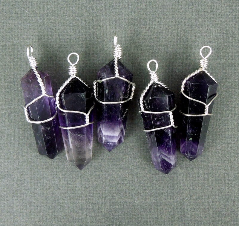 Amethyst Crystal Silver Wire Wrapped Point Pendant - Amethtyst Crystal Point Wire-Wrapped Pendant