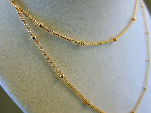 "Gold Filled 16"" Satellite Finished Chain 1.6mm links"