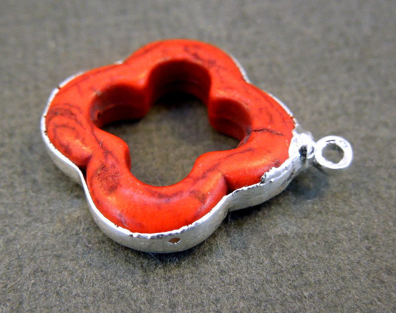 Red Clover Pendant Charm Clover Silver Electroformed (S1B17-09)