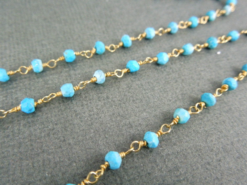 Turquoise Rosary Beaded Chain Gold over Sterling or Plated  Wire Wrapped chain- Delicate Turquoise Prayer Chain (CHN-103)