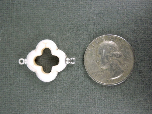 White Clover Station Pendant Charm Silver Electroformed double bail (S1B17-14)