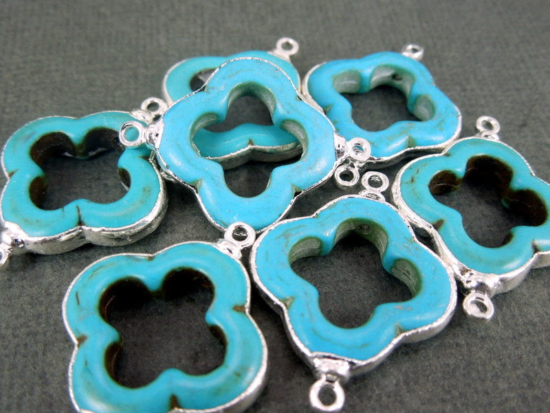 Turquoise Clover Silver Electroformed Double Bail  (S1B17-11)