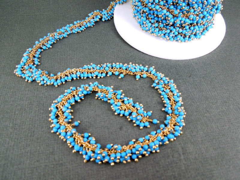 Turquoise Wire Wrapped Chain - Rosary Style beaded Chain by foot - Turquoise Dangles with Gold Wire Wrap chn 110
