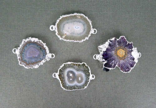 Amethyst Stalactite Double Bail Connector Pendant(S1B4-02)