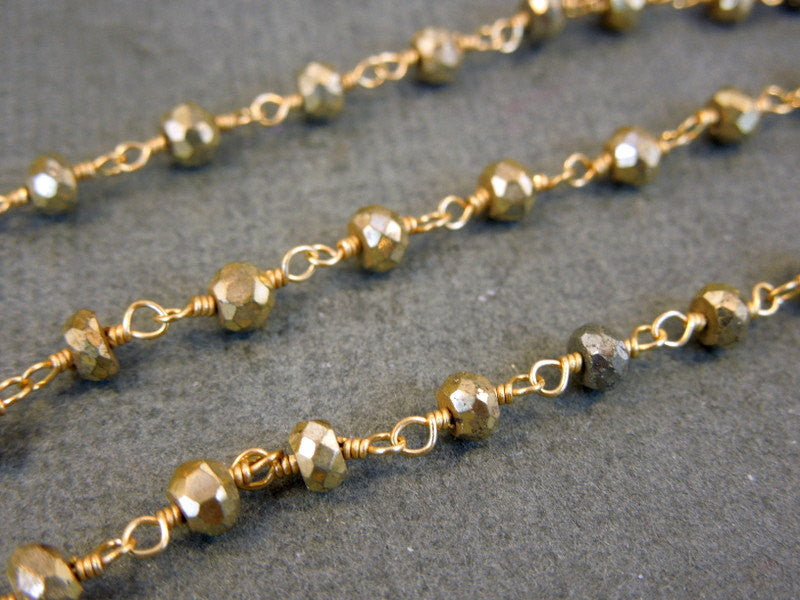 Pyrite gold over sterling silver wire Wrapped Chain or plated