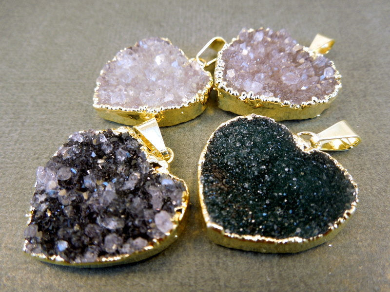 Large Druzy Heart Pendant Charm edged in 24k Gold (S1B6-05)