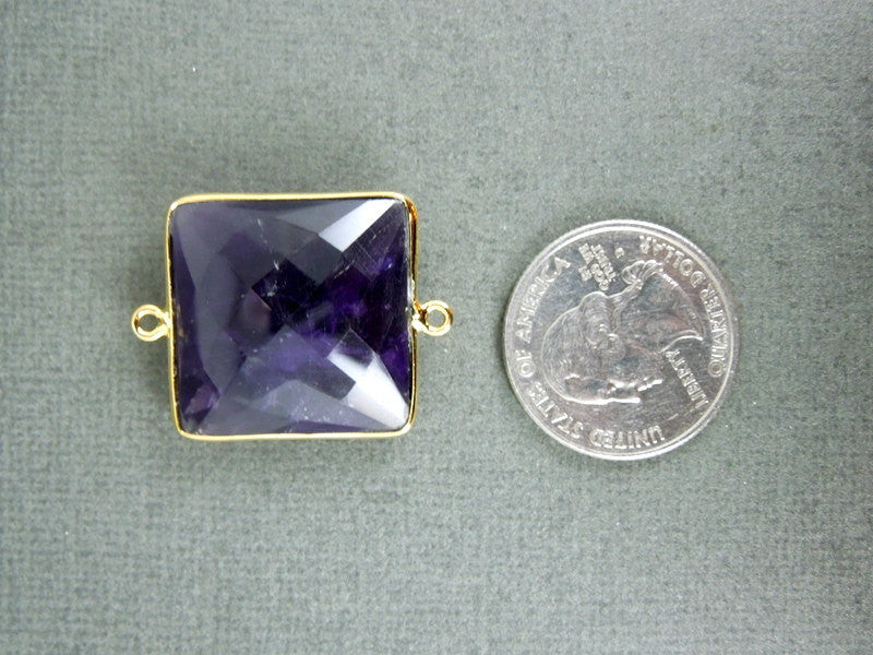 Amethyst Station Square Connector - 22mm Silver layered Bezel Link - Double Bail Charm Pendant