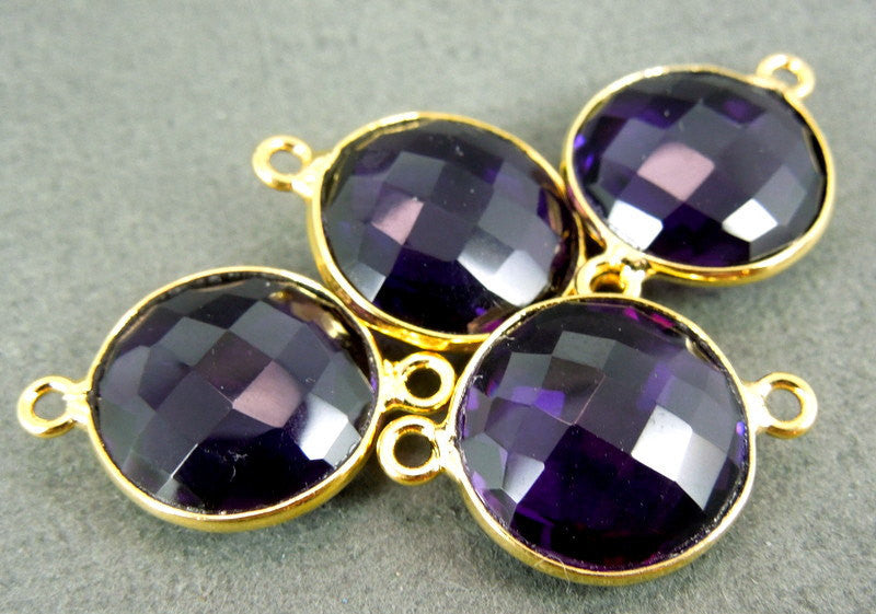 Amethyst Station Round Connector - 14mm Gold layered Bezel Link - Double Bail Charm Pendant