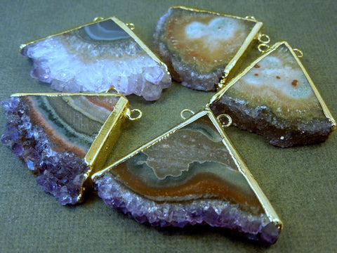 Amethyst Triangle Slice with 24k gold layered edge and double bail Pendant - Handmade Druzy amethyst slice drusy pendant ASP