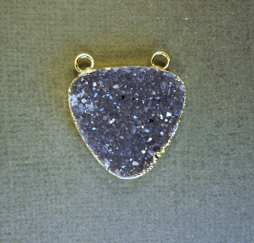 Druzy Triangle Pendant Charm with 24k Gold Layered Edge and Double Bail (S1B1-12)