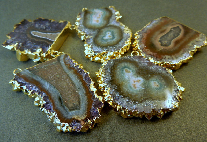 Amethyst Stalactite Slice Druzy Crystal with 24k Gold Electroplated Edge and Double Bail Pendant S1B15-04