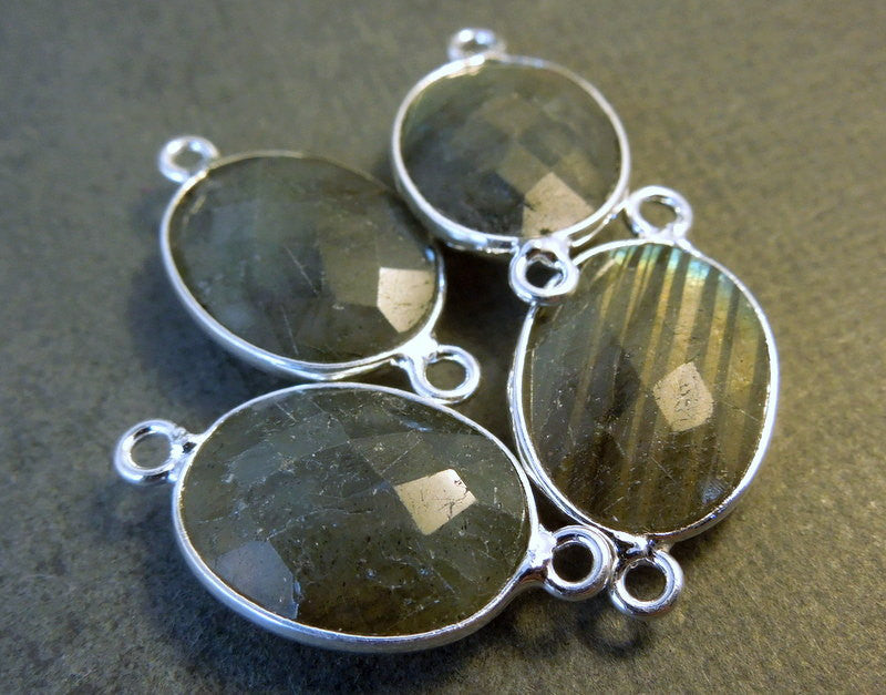 Labradorite Station Oval Connector - 16mm x 12mm Sterling Silver Bezel Link - Double Bail Charm Pendant