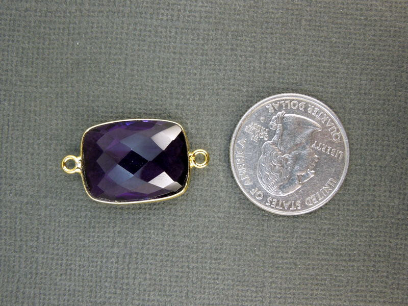 Amethyst Station Rectangle Connector - 15mm x 20mm Gold layered Bezel Link - Double Bail Charm Pendant
