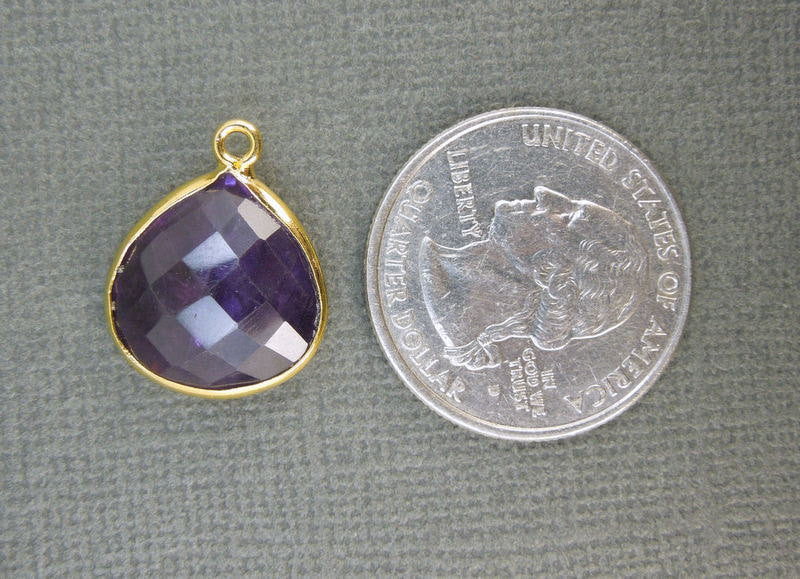 Amethyst  Station Teardrop Pendant- 15mm x 16mm Gold layered Bezel Link - Single Bail Charm Pendant
