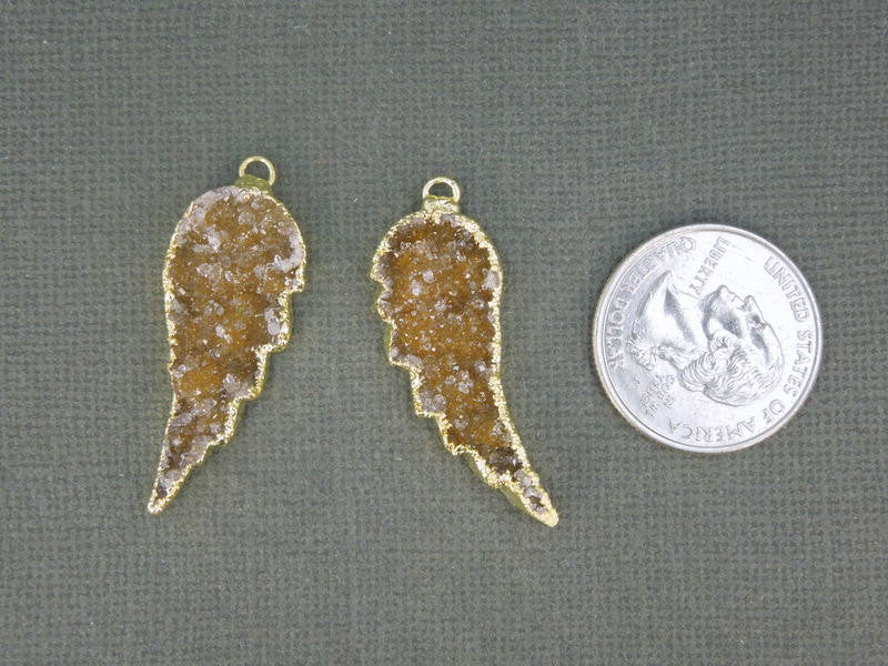Druzy Wings Pendants 1 Pair