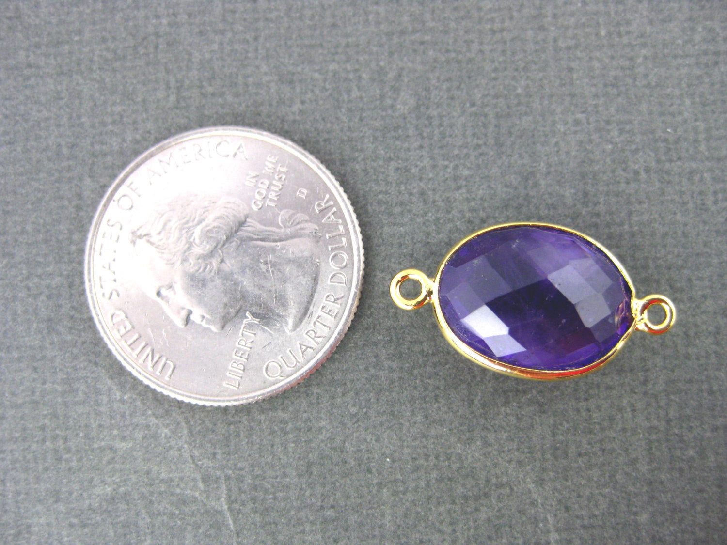 Amethyst Station Oval Connector - 12mm x 16mm Silver  layered Bezel Link - Double Bail Charm Pendant