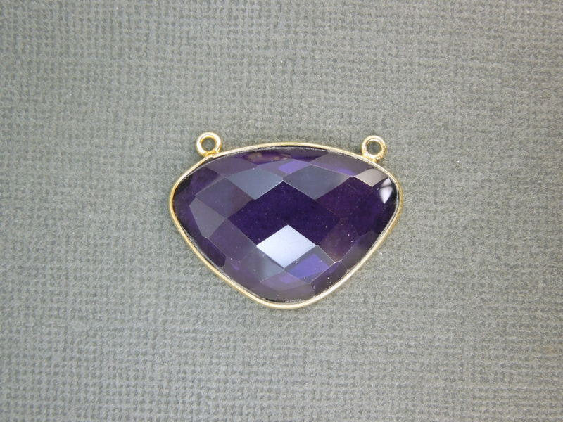 Amethyst Fancy Connector Pendant -28mm x 20mm Gold Vermeil Bezel Link- Double Bail Connector Pendant
