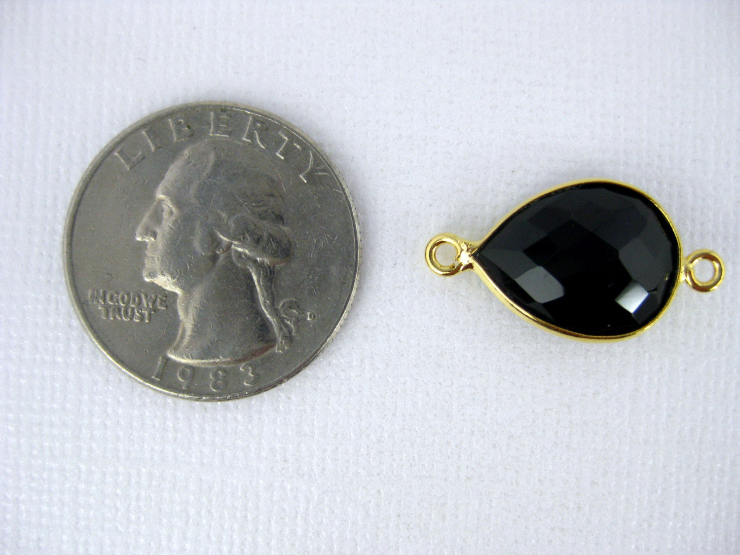 Bezel Connector Carnelian Station Teardrop Gemstone Connector - 12mm x 16mm Gold Over Sterling Bezel - Double Bail Charm Pendant (GW-08)
