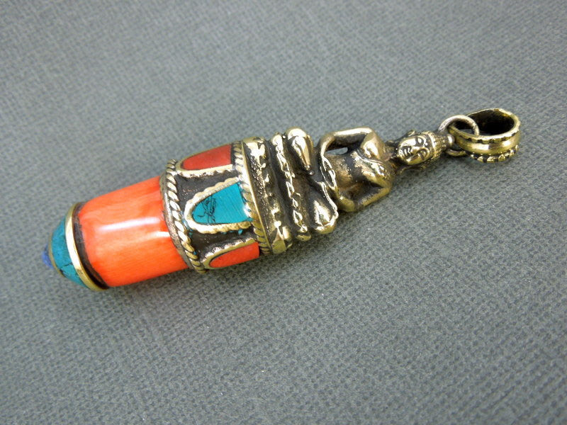 Tibetan Horn Bullet Pendant with Brass Ganesha or Shiva and Turquoise, Lapis and Red Coral Accents