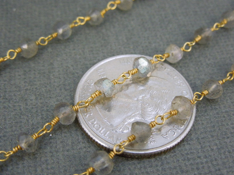 Labradorite Wire Wrapped Chain  - Labrorite with Gold over Sterling or Plated Wire Wrap (CHN-41)