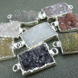 Druzy Druzzy Drusy Pendant Rectangle Electroplated in silver Double Bail (S1B13-07)