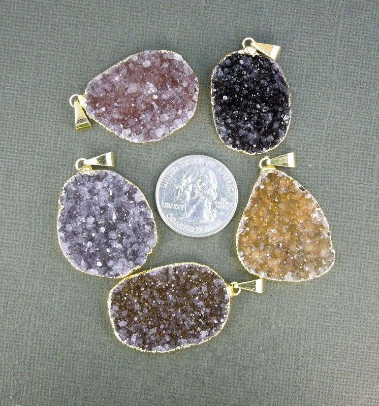 Dark Druzy Druzzy Drusy Freeform Pendant with 24k gold-electroplated Edge (S1B12-01)