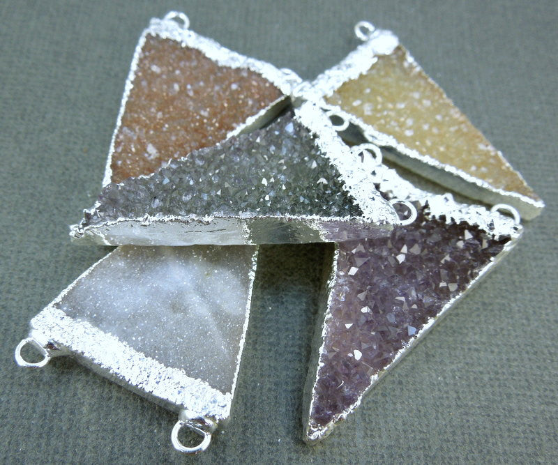Druzy Triangle Pendant Charm with Silver Electroplated Edge and Double Bail (S1B7-02)