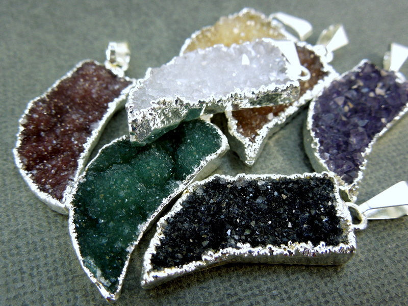 Druzy Horn Pendants with Silver electroplated Edge(S1B3-02)