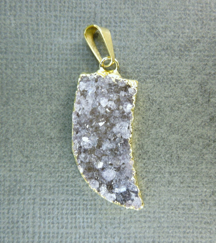 Druzy Horn Pendants with 24k Gold layered Edge-- (S1B3-09)