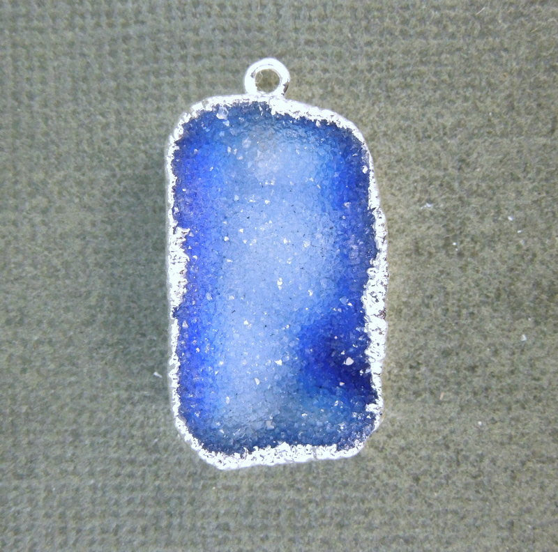 Blue Druzy Pendant electroplated Silver - Freeform Blue Druzy Pendant (S1B2-02)
