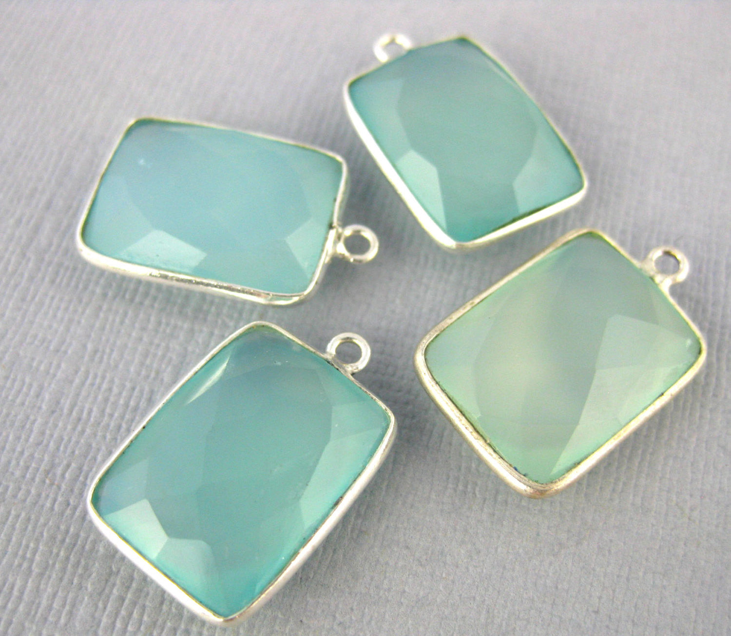 Aqua Blue Chalcedony Station Rectangle Pendant- 12mm x 16mm Sterling Silver Bezel Single Bail Charm Pendant