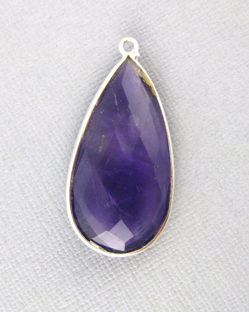 Amethyst Teardrop Pendant- 30mm x 15mm Sterling Silver Bezel - Single Bail Charm Pendant
