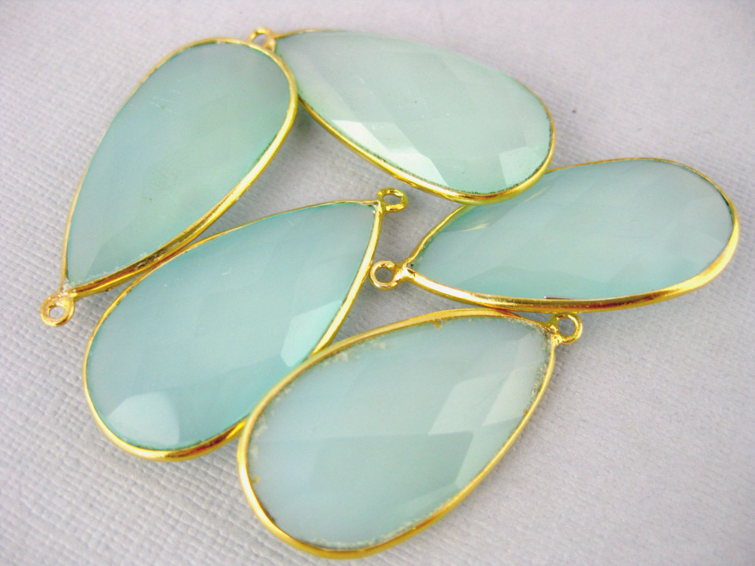 Aqua Blue Chalcedony Teardrop Pendant- 30mm x 15mm Gold Over Sterling Bezel - Single Bail Charm Pendant