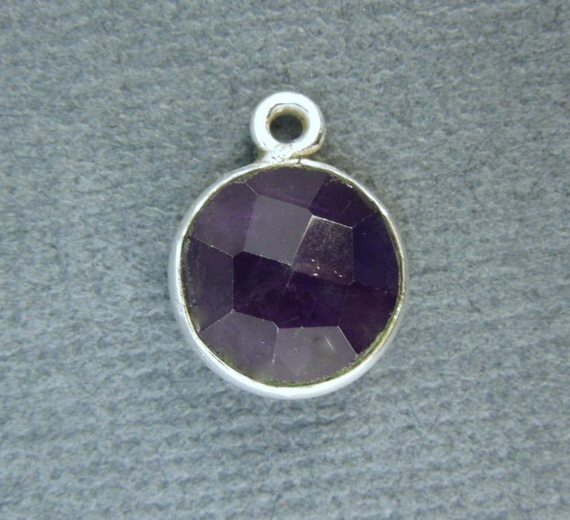 Amethyst Station Round Charm Pendant- 10mm Sterling Silver  Bezel Charm Pendant