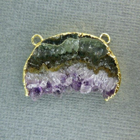 Dark Druzy Rectangle Bar Double Bail Pendant with Silver Electroplated Edge-- (S1B8-08)